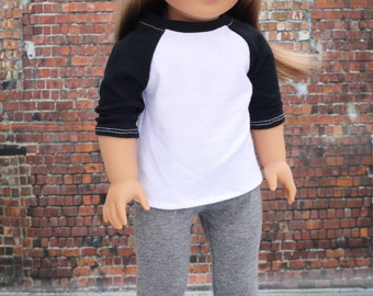 Doll Clothes | Trendy Black and White 3/4 Sleeve Fitted BASEBALL TEE for 18 Inch Doll such as American Girl Doll