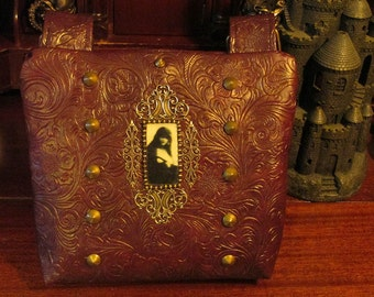 Gothic Victorian Ghost Cross Body Shoulder Bag in Maroon Embossed Faux Leather  -- Ghost's in the Attic