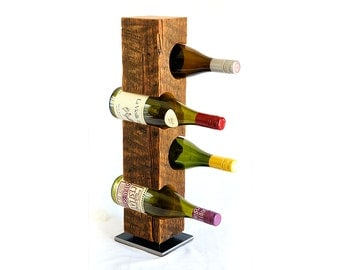 Wine Rack from mid-1800s Vermont Barn Wood, Free Domestic Shipping, Ready-to-Ship, Free Standing with Steel Base, 4-Bottle Rack