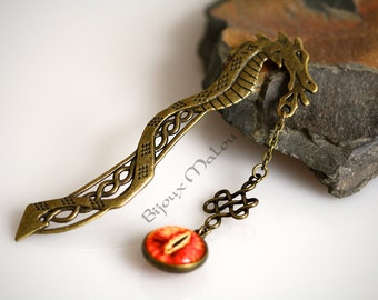 Dragon Eye Bookmark Bronze Dragon Bookmark Celtic Knot and Dragon Eye Hanger Celtic Dragon Gift Bookart Bookworm Gift Nerdy Gifts