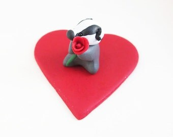 Tiny Valentine's Badger Ornament with a Single Red Rose on a Sparkly Red Heart, Ideal Valentine's Gift for Badger Lover