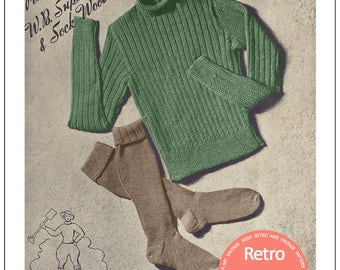 1940s Land Girl Jumper and Socks Vintage Knitting Pattern - PDF Knitting Pattern -  Instant Download