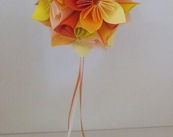 Kusudama - origami - oranges and yellows