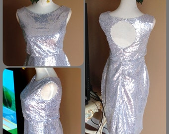 Silver Sequin bridesmaid dress, Silver sequin prom dress, Short sequin dress