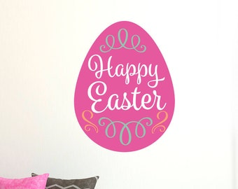 Happy Easter Pink Egg Wall Sticker