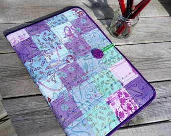 Hand bound A4 size blank art journal/sketch book with fabric art loose cover.