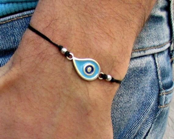 Boho Evil Eye Mens Cord Bracelet Anklet Blue Bracelet Anklet Adjustable