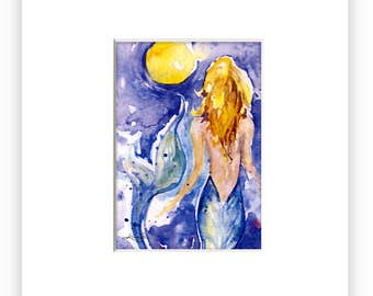 Abstract Mermaid Art Etsy