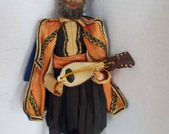 "13"" Russian Cossack doll mandolin instrument player folk art doll Balalaika player handmade"
