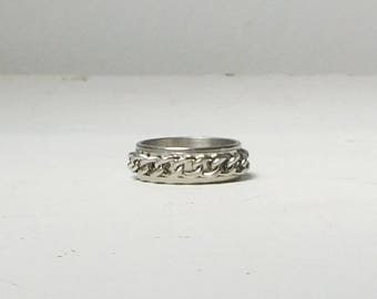 Silver Tone Band Ring with Silver Chain Size 9 1/2 Vintage Mens Womens Jewelry