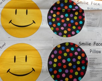 """One Yard Cut and Sew Panel """"Smilie Face"""" from VIP/Cranston to make 16"""" Round Pillows"""