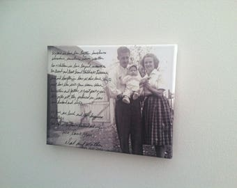 ACTUAL HANDWRITING as wall art on canvas - Father to Son, wall canvas, handwritten letter from dad and mom