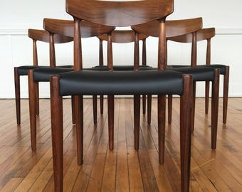 Mid Century Danish Rosewood Set of Six (6) Dining Chairs by Knud Faerch