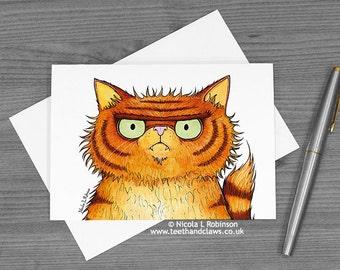 Cat Greeting Card, Ginger Persian Cat, Cat Fathers Day Card, Cat Birthday Card, Blank Cat Card, Grumpy Persian Cat, Orange cat, cat notecard