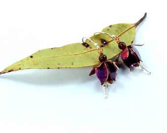 Fuchsia Earrings, Flower Earrings, Silver Earrings, Copper Fuchsia, Fold Formed Earrings, Copper Earrings, Fuchsia Flower, Floral Earrings