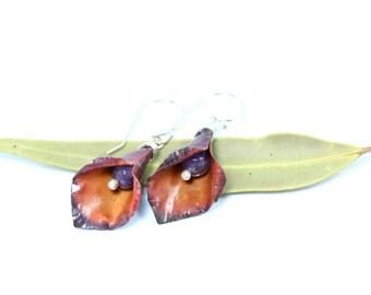 Lily Earrings, Copper and Amethyst Earrings, Lily Earrings, Fold Formed Copper Earrings, Sterling silver Earrings, flower earrings