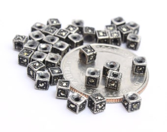Sterling Silver and Marcasite Cube Bali Beads 4pcs