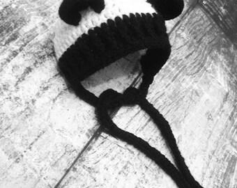 Crochet Panda Bear Bonnet. Bear Hat. Baby Hat. Preemie and Newborn. - PATTERN ONLY