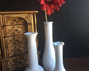 Midcentury Set of Three White Milk Glass Bud Vases, Vintage Set of 3 White Milk Glass Vases, Cottage Chic Decor