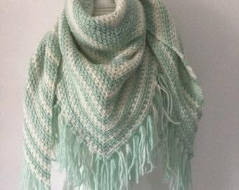 Handmade Crochet shawl ombre mint
