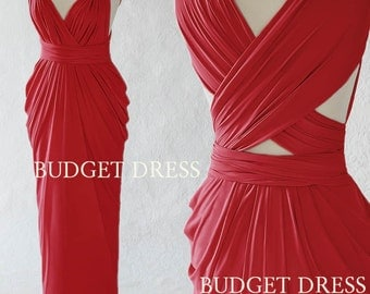 2017 NEW STYLE Crimson Red Infinity Dress, Transformer Summer Bridesmaids Dresses, Maxi Prom Dresses, Convertible Wedding Party Dresses