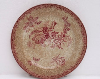 Antique French Sarreguemines FONTAGNES Dinner plate Ironstone Tea stained shabby perfect 19th century