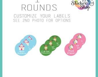 "72 Kid's Name Label Stickers 1"" Rounds - Waterproof, Dishwasher Safe for School, Daycare, Camp"
