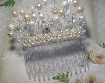 Bridal hair accessories comb, wedding hair, Bridal hair comb wedding, shell pearl beads silver wire