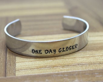 One Day Closer / Long Distance Relationship / Deployment Jewelry / Wedding Gift / Gift for Girlfriend / Hand Stamped Jewelry