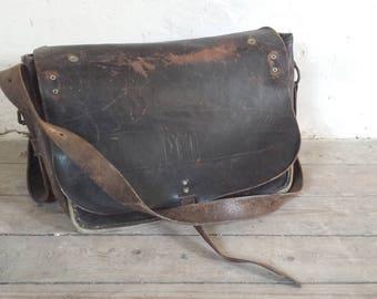 Leather Postman Bag, Black Leather Messenger Bag, Dutch Post Bag, Post Messenger Bag, Black Leather Briefcase, PTT Post Bag, Mail Worker Bag