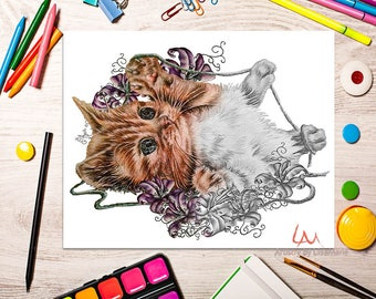 Adult Coloring Page, Coloring Pages, Instant download coloring, cat coloring, coloring page, adult coloring, coloring book adult, cat art