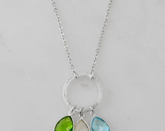 Silver eternity necklace, Birthstone Colored gemstone Sterling Silver Round circle Kids birthstone family necklace, Sterling silver gems