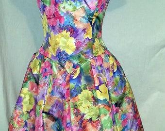 Vintage VICTOR COSTA Taffeta Off Shoulder Summer Dress