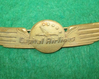 Original 1950's Capital Airlines Pilot Hat Pin Insignia - Free Shipping