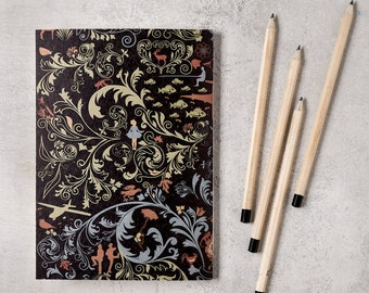 Oriental notebook with ruled paper, dark notebook, lined A5 notebook, travelers notebook, notebook journal, handmade notebook, kraft cahier