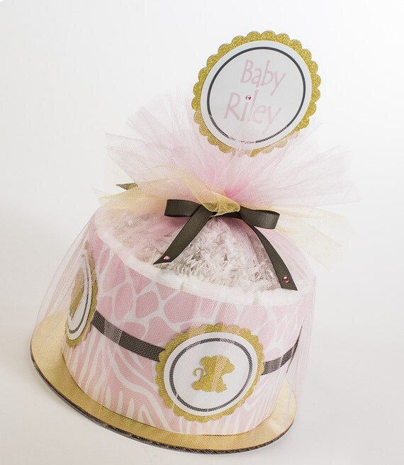 Safari Baby Shower - Mini Diaper Cake - Pink and Gold - Baby Shower Gift or Centerpiece.