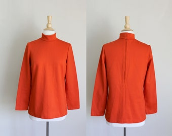 1960s Red Turtleneck Sweater | Wool Sweater | Medium