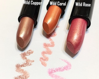 Clearance WILD CORAL Frosty Mineral Lipstick - Gluten Free Natural Lip Color