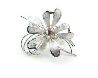 Vintage Sterling Flower Brooch, Brushed, Signed, Bond Boyd Sterling