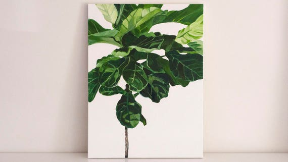 "Original 18x24 Painting ""Fiddle-Leaf Fig"" FREE SHIPPING"