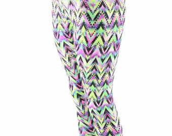 Chevron Candy Neon UV Glow Sparkling High Waist Spandex Leggings  153958