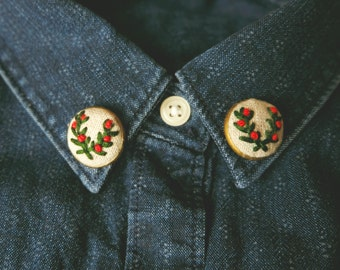 Embroidered collar pins lapel pins embroidered twigs twig crown faiytale pin pinback button