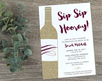 Wine Themed Bridal Shower Invitation  |  Wine Shower