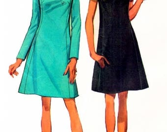 Simplicity 8461 Vintage 1960s Misses A-line Mod One Piece Dress And Scarf Sewing Pattern