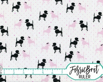 FRENCH POODLE Fabric by the Yard, Fat Quarter Michael Miller Paris Fabric Pink Poodle Fabric 100% Cotton Fabric Quilting Fabric Yardage t5-4