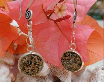 Earrings of Maui sand in sterling bezel on silver earwires