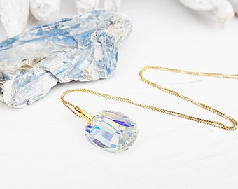 Clear crystal Swarovski necklace pendant 24k gold plated wedding bridesmaid necklace Crystal AB Swarovski graphic jewellery Gold chain