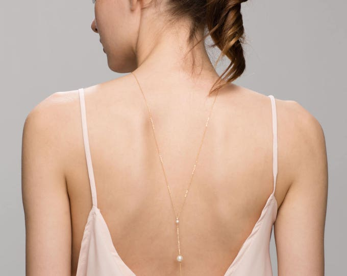 Back Necklace with 3 Pearls // Wedding gown back necklace // Bridal jewelry