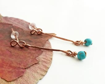 Turquoise dangle earrings - Turquoise earrings Turquoise jewelry Copper wire earrings Copper wire jewelry Turquoise drops Elegant earrings