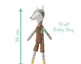 WOLF BABY BOY doll - Plushie Stuffed Toy -  Softie for Boy - Animal Doll - rag doll